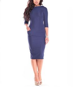 ce52fce9f91 Laura Bettini Navy Pocket Boatneck Sheath Dress Dress - Plus Too