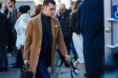 Camel coat, suit & turtleneck sweater. NYFW: Men's AW16 Day 2 — Men's Fashion Post