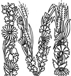 M With Flower Ribbon Design Shape Alphabet Coloring Pages