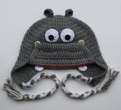 Crochet Hippo Hat for Boy or Girl size Newborn by LenasBoutique