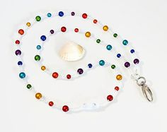 Rainbow Beaded Lanyard  Breakaway Lanyard  by PeriwinkleBeadDesign …