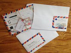 travel theme invitation, recipe card, envelope & wrap around label by ThisAndSomeOfThat on Etsy https://www.etsy.com/listing/230267615/travel-theme-invitation-recipe-card