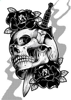 Drawing with Pencil: Drawing for Tatoo - Skulls - Drawing with Pencil: Drawing for Tatoo – Skull Skull Tattoo Design, Skull Tattoos, Rose Tattoos, Body Art Tattoos, Sleeve Tattoos, Tatoos, Tattoo Designs, Tattoo Sketches, Tattoo Drawings