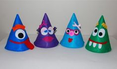 Monster Party Hats for Little People! New Year's Eve Activities, Craft Activities For Kids, Projects For Kids, Crafts For Kids, Kids Diy, Crazy Hat Day, Crazy Hats, New Years Hat, Kids New Years Eve