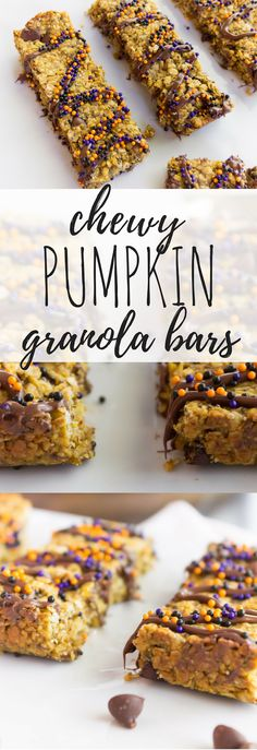 These chewy granola bars are filled with peanut butter, chocolate, and pumpkin--making these the ultimate fall treat for those little (or big) hands.     Pumpkin Granola Bars, Breastfeeding Granola Bars, Chewy Granola Bars, Pumpkin Chocolate Snack, Peanut Butter Pumpkin, Fall Snack, Fall dessert, Fall treat, Pumpkin dessert, Fall lunch box ideas, Granola Bar Recipe, Pumpkin Granola Bar Recipe, Pumpkin Chewy bar
