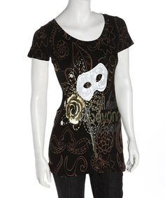 Another great find on #zulily! Black & Gold Mask Organic Tee by Sharon Cruise #zulilyfinds