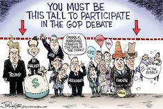 GOP Debate © Joe Heller,Green Bay Press-Gazette,gop debate, fox news, trump, walker, huckabee, jeb, cruz, carson, rubio, christie, measure up, this tall