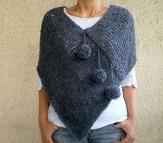 Women Poncho with Pom pom in Dark Blue Gray Grey by bysweetmom