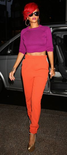 She's like one big color block! Great colors, too. And I love the pants.    1