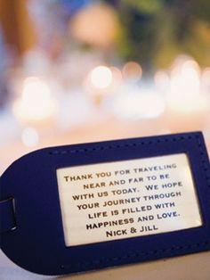 destination wedding thank you with custom luggage tag - great idea Destination Wedding Ideas
