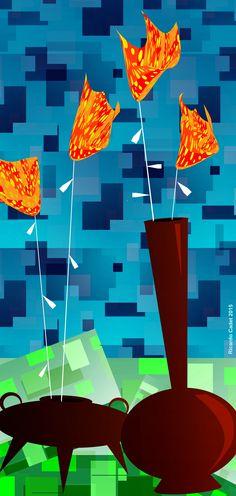Flores de fuego  #arte #artecontemporáneo #diseño #desing #art #ilustracion #artedigital #ilustration #RicardoCadet #hechoenVenezuela #madeinVenezuela