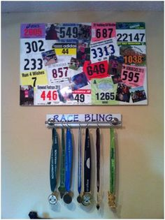 race bib display / sports metal display / awards display...could work for cattle show stuff too