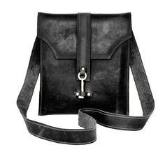 Black Leather Messenger Bag with Skeleton Key by DivinaDenuevo, $150.00