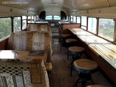 inside dining in an old school bus