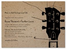 Music Theme Wedding Invitations on plantable paper ~ Acoustic Melody by ForeverFiances (Green Guitar, Original)