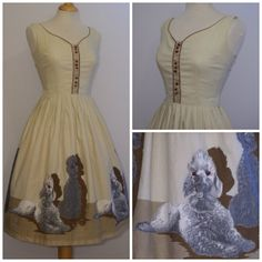 Adorable 1950s Novelty Poodle Print Dress. #vintage #1950s #dogs #dresses #fashion
