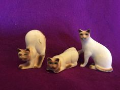 Siamese Cat Kitten 3 Pieces  Set Ceramic Figurines Small Mini