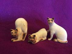 Siamese Cat Kitten 3 Pieces  Set Ceramic Figurines Small Mini