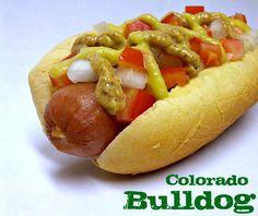 Colorado Bulldog: Polish Sausage with Green Chili Sauce, Horseradish Mustard and Diced Tomato & Onion