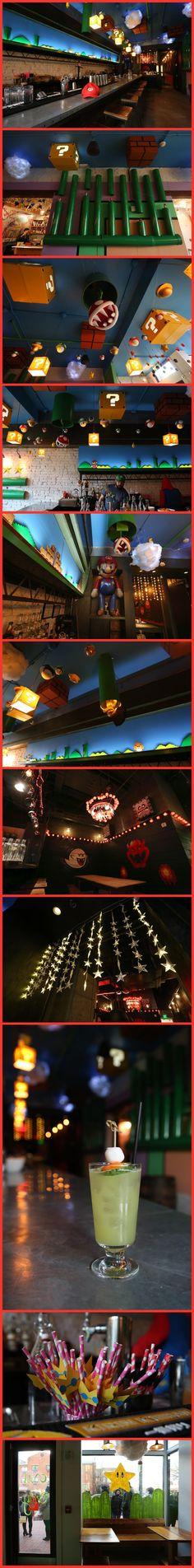 This is fuckin dope Super Mario Bros themed Pop Up Bar in Washington DC. Classic Nintendo NES Video Game decor and drinks. Nerd Room, Gamer Room, Video Game Decor, Video Games, Deco Gamer, Pop Up Bar, Retro Arcade, Mario Party, Super Mario Bros