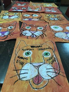 Elements of the Art Room: Grade Painted Paper Tiger Collage Jungle Art Projects, Class Art Projects, Animal Art Projects, Kids Art Class, 3rd Grade Art Lesson, Third Grade Art, Tiger Painting, Food Art For Kids, Tiger Art