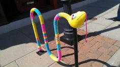 Snake Bike Rack Yarn Bomb