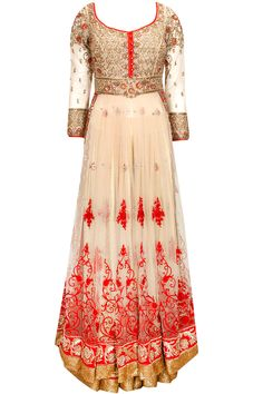 Beige fully embroidered kurta with sharara and red dupatta available only at Pernia's Pop-Up Shop.