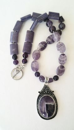 Gorgeous Amethyst Agate Pendant Necklace by GemsbyJoniH on Etsy