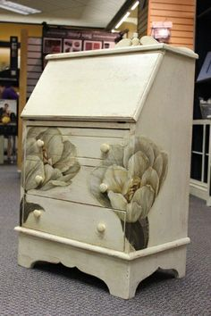 Tulip Desk done with Annie Sloan Chalk Paint -Old White over Barcelona Orange and distressed