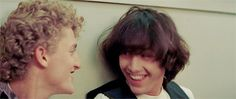 Alex Winter and Keanu Reeves in Bill and Ted's Excellent Adventure (gif) Keanu Reeves Young, Keanu Charles Reeves, The Lost Boys 1987, Alex Winter, Keanu Reaves, Film Trilogies, Jenny Mccarthy, Me As A Girlfriend, Celebs