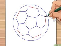 How to Draw a Soccer Ball. Soccer balls are fun to play with but can be unfamiliar to draw. The traditional soccer ball is made from two flat shapes, pentagons and hexagons. Ball Drawing, Paper Drawing, Line Drawing, Paw Print Clip Art, Drawing Utensils, Flat Shapes, Soccer Ball, Lettering, Drawings