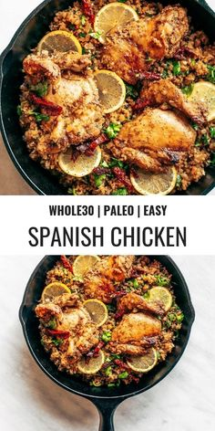 One Pan Spanish Cauliflower Rice Made In 25 Minutes Bursting With Flavor Paleo And Friendly. Made With Lemon, Cilantro, Chicken, And Cauliflower Rice. This One-Pan Skillet Recipe Makes For Fast And Easy Meal Prep. Simple Paleo Meal Prep For Beginners. Whole Foods, Paleo Whole 30, Whole Food Recipes, Diet Recipes, Whole30 Recipes, Recipes Dinner, Paleo Chicken Recipes, Spanish Food Recipes, Whole 30 Meals
