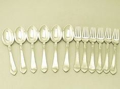 Danish Silver Dessert Service for Six Persons by Georg Jensen - Art Deco Style - Antique 1927  A fine and impressive antique Danish silver Antik pattern dessert service for six persons made by Georg Jensen in the Art Deco style; an addition to our dining silverware collection  http://www.acsilver.co.uk/shop/pc/Danish-Silver-Dessert-Service-for-Six-Persons-by-Georg-Jensen-Art-Deco-Style-Antique-1927-38p6535.htm#.VCkI6vldXHU