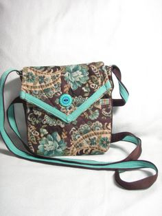 Small cross-body bag Brown/Turquoise 170 by bylaura on Etsy