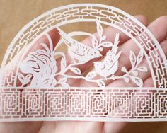 5 Chinese Paper-Cuts in White with Intricate Latticework