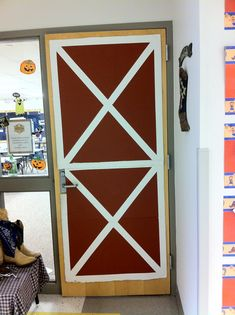 Classroom door turned into a barn door from cardboard box