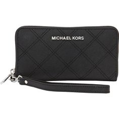 MICHAEL Michael Kors Jet Set Large Coin Multifuntion Phone Case... ($108) ❤ liked on Polyvore featuring bags, wallets, black, designer ladies wallets, ladies wallets, coin bag, michael michael kors wallet, black bag, black zip around wallet and coin wallet