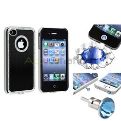 Bling Set Black Case+ Diamond Home Button Sticker+ Dust Cap For iPhone 4 4GS | eBay