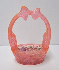 """Vintage Pink 1950s 6"""" Rosbro Easter Bunny Plastic Candy Container Basket    eBay"""