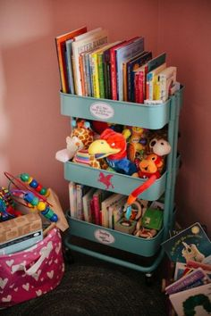Kitchen carts don't have to stay in the kitchen. Take this children's room for example: Here, books and stuffed animals are organized in this handy three-tiered piece. The best part? It's on wheels, so you can transport it to any section of the room. Click through for more on this and other repurposed home organizers.