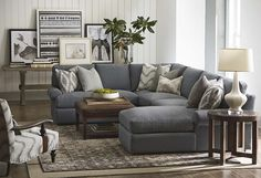 Sutton U-Shape Sectional Sofa by Bassett Furniture. Sutton has a casual style and soft comfortable seating enhanced by blend down seat and back cushions.