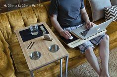 Mesa para sofá ou cama com porta-copos e slots para dispositivos móveis - Hiper Original