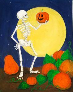 Pumpkin Picking Skeleton - Halloween Painting - Original Artwork