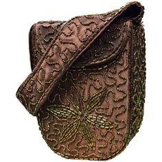 Preowned 1940s Beaded Handbag ($199) ❤ liked on Polyvore featuring bags, handbags, black, man bag, handbags bags, beaded hand bags, beaded bags and pre owned purses