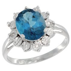 $92.35 USD, Sterling Silver Natural London Blue Topaz Ring Oval by WorldJewels