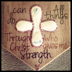 DIY baseball/home plate. I hwould love to do this for a bedroom! I think I am going too! I will do the scripture a little differently tho I think. Softball Crafts, Softball Stuff, Baseball Stuff, Softball Decorations, Senior Softball, Softball Things, Softball Quotes, Softball Players, Sport Quotes