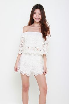 We are in love with this romantic and ethereal off shoulder lace crop top. Features Rayon Elasticised off shoulder ne Lace Crop Tops, Lace Shorts, Skirts, Fashion, Moda, Fashion Styles, Skirt, Fashion Illustrations