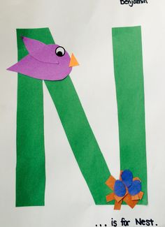 0c8d363c3 N is for Nest. Letter recognition. Cutting, gluing and pasting. Letter  Recognition