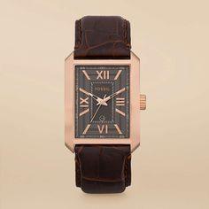 FOSSIL® Watch Styles Leather Dress:Men Roman Leather Watch - Brown FS4653