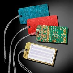 Recycled Circuit Board Luggage Tag 3 Pack for Nerds and Geeks
